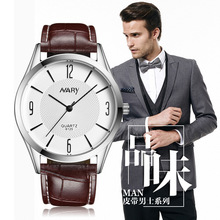 2017 NARY brand leather couple quartz - watch dress simple slim cheap watches for men vintage classic analog hand wrist watch