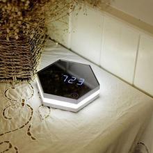 Промышленность стиль спальня декор Прохладный шестигранной 4in1 будильник со СВЕТОДИОДНОЙ night light косметическое зеркало стеклянный Термомет...