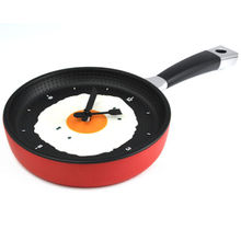 MEOF Frying Pan Clock with Fried Egg - Kitchen Cafe Wall Clock - Red/blue/yellow/green