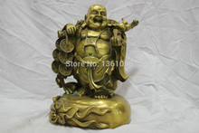 Free shipping AA 00196 China Pure Bronze Happy Laughing Buddha Carry Coins Statue Bring Wealth(China)
