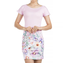 Women dress Casual O-Neck Colours Personality Print short Sleeve Party Club Mini Dress DLQ001(China)