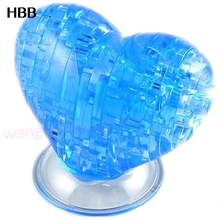 3D Crystal Puzzle Jigsaw Model DIY Love Heart IQ Toy Furnish Gift Souptoy Gadget