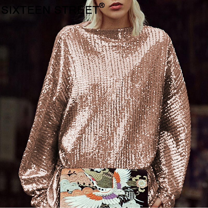 New woman's clothing sequin gold bling shirt long sleeve o-neck loose tops for ladies autumn sequin embroidery T-shirt