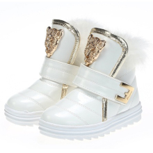 Girls Boots Children Snow Boots Winter Warm Fashion Fur Baby Boot Waterproof Soft Bottom Non-slip Leather Booties Kids Shoes