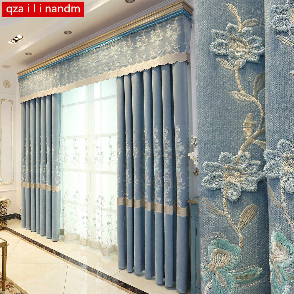 Luxury Curtains Tulle For Living Room European blue Chenille Embroidery Curtains Bedroom Kitchen window Decorate Panel