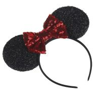 Hot Sale 1 PC Mickey Minnie Mouse Ears Headband Birthday Gift Girls Sequins Bow Headband Princess Hair Accessories For Women