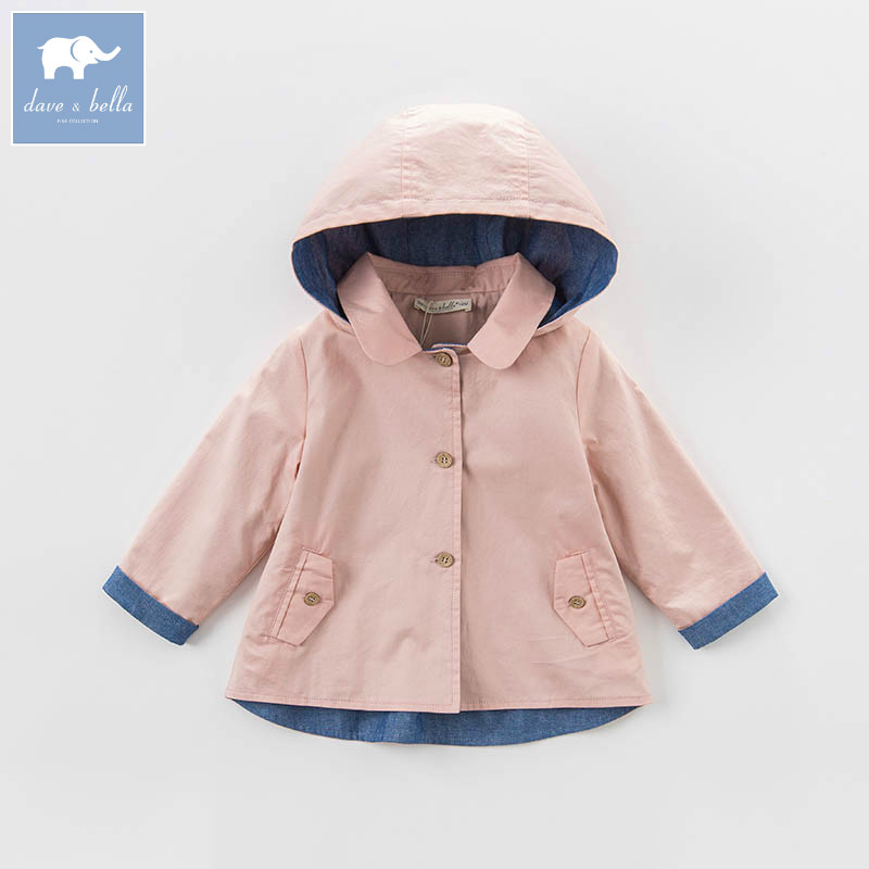 DBB6927 dave bella spring baby girls hooded coate kids solid toddler kids high quality lovely clothes<br>
