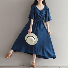 2016 Summer New Fan Art V-neck Cotton And Linen Dress Short Sleeves Sapphire Long Gown Women Maxi Dresss