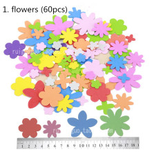 Flowers EVA Foam Sticker Sponge Patch Stickers Pentagram Animal Stars Fruits And Vegetables DIY Sticker Educational Toys For Kid