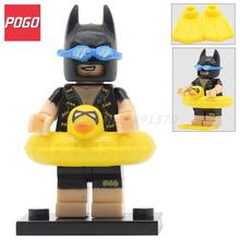POGO Batman with Duck Swimming Ring Glasses Building Blocks PG183 DC Super Heroes Batman Figure Model Bricks Toys for Children