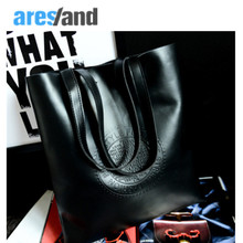 Aresland 2017 new fashion autumn winter big letters women Handbag shoulder bag women tote bags pu leather black red brown