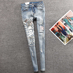 Patch Women Jeans Painted Ripped Light Color Pencil Pants Slim Skinny Holes Women JeansОдежда и ак�е��уары<br><br><br>Aliexpress