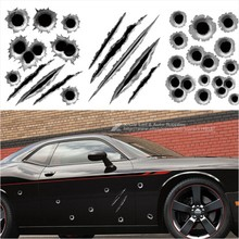 23*29cm Funny DIY Car Sticker 3D Bullet Hole Car Styling Accessories Motorcycle Simulation Scratch Decal Waterproof Stickers
