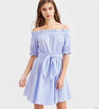 Ebay Sells 2017 New Summer Beach Dresses, Women's Half Sleeves, Blue Stripes, And A One-piece Dress