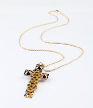 New Designer Glass Stone Gold Color Cross Pendant Necklace Punk Style Long Necklace Fashon Accessories