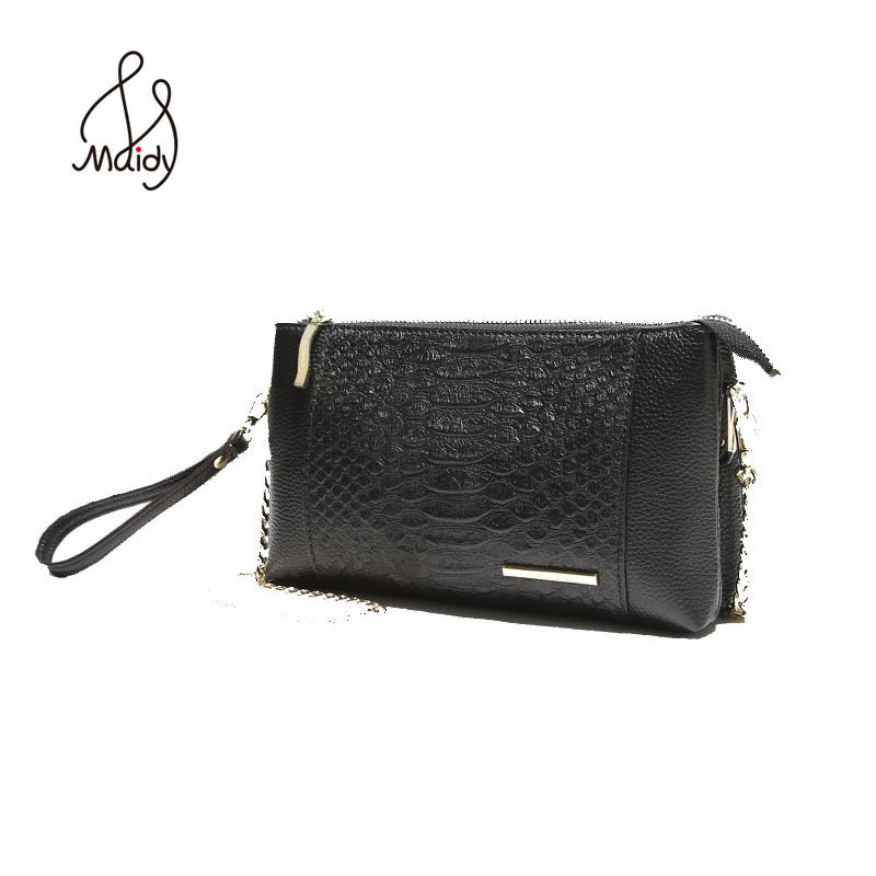 Genuine Luxury Serpentine Alligator Handbags Envelope Bag Clutches Messenger First Layer Cowhide Leather For Woman Bags Casual<br>