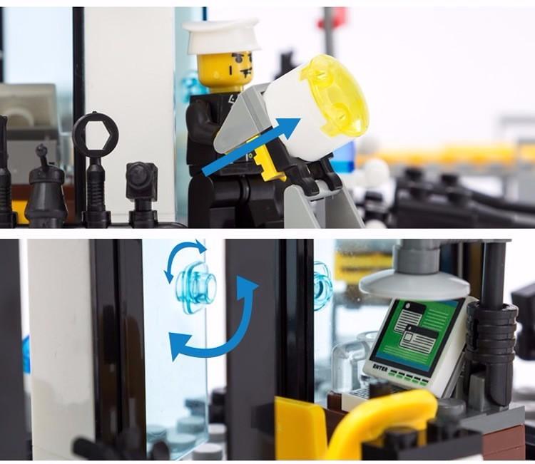 KAZI 6726 Police Station Building Blocks Helicopter Boat Model Bricks Toys Compatible LegoINGlys Blocks Toys For Children Gift 5
