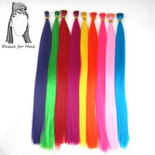 "100strands 22"" long 1g bright colors high tempreture synthetic stick i tip loop micro ring hair extensions for Party"