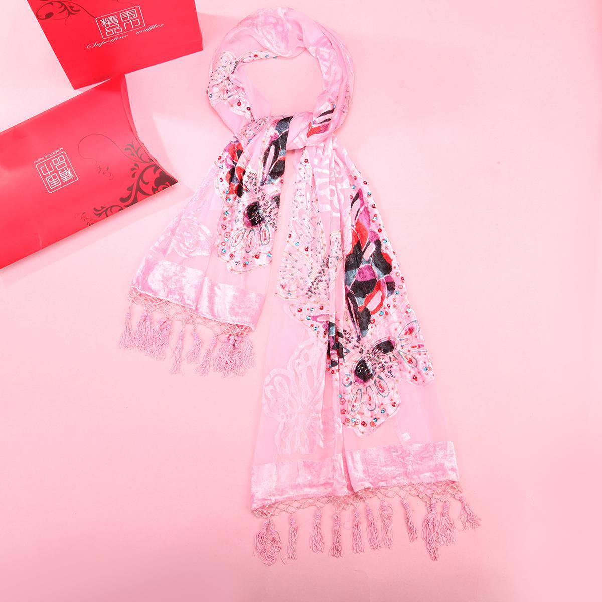 Pink New Style Shawls Velvet Silk Scarf For Women Thick Warm Pashmina Wrap Butterfly Beaded Echarpes Cape Premium Kerchief Chal
