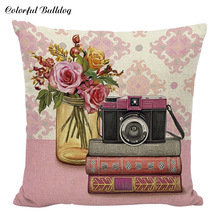 European Vintage Oil Painting Cushion Cover Floral Flower Camera Radio Telephone Throw Pillow Cases Sofa Linen Cotton Cojines