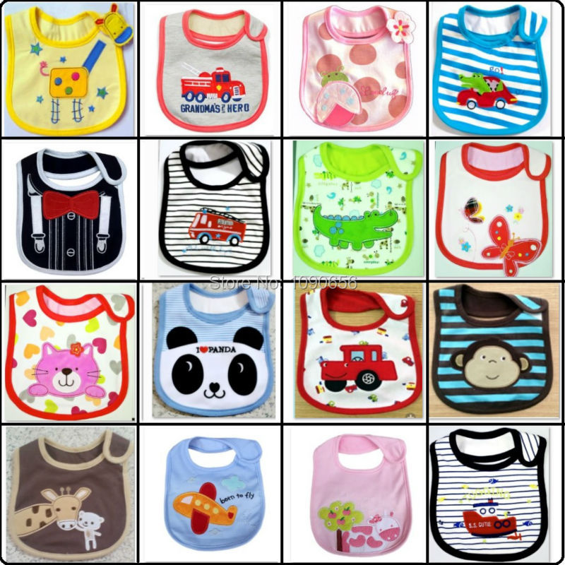Baby Boys Bibs 3 Layers Terry Clothes Baby Girls Scarves Saliva Towels Cartoon Animal Infant Burp Cloths embroidered pinafore(China)