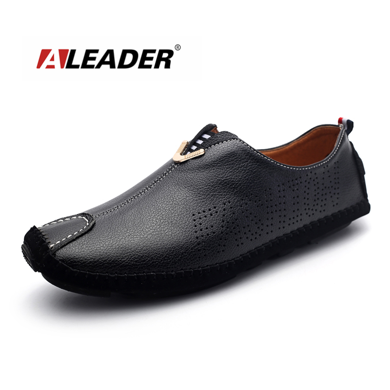 Aleader Men Summer Daily Wear Genuine Leather Boat Shoes Male Slip On Walking Shoes Comfort Soft Driving Shoe Sapatos Masculinos<br>