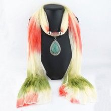 Fashion Women Vintage Charms Gradient Color Water Drop Pendant Jewelry Scarves Necklace Colored Scarf
