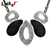 LEEKER Trendy Irregular Big Metal Pendant Choker Necklace Chain Collar Women Statement Party Jewelry 94186 LK10(China)