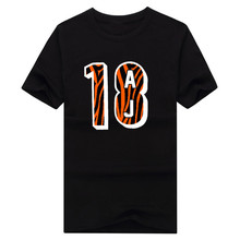 Cool print 2017 AJ Green Cincinnati 18 logo T-shirt 100% cotton short sleeve o-neck T shirt 1020-2(China)