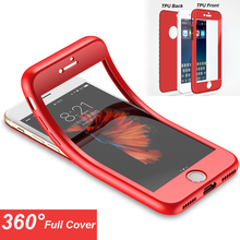 2017 New For iPhone X 7 8 Plus 6S 6 5 5S SE Case Protect TPU Silicone Flexible Soft 360 Full Body Protective Case Cover