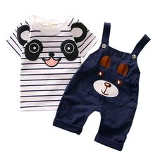 Baby Boy Clothing Set Bear Pattern Striped Strap Suit Toddler Baby Infant Bib Short TShirt Set #2132