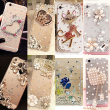 Rhinestone Cover For Samsung S6 S7 edge S8 Plus Note5 Luxury Bling Big Crown Shell Hard Phone Case For iPhone 5 6 6S 7 Plus(China)