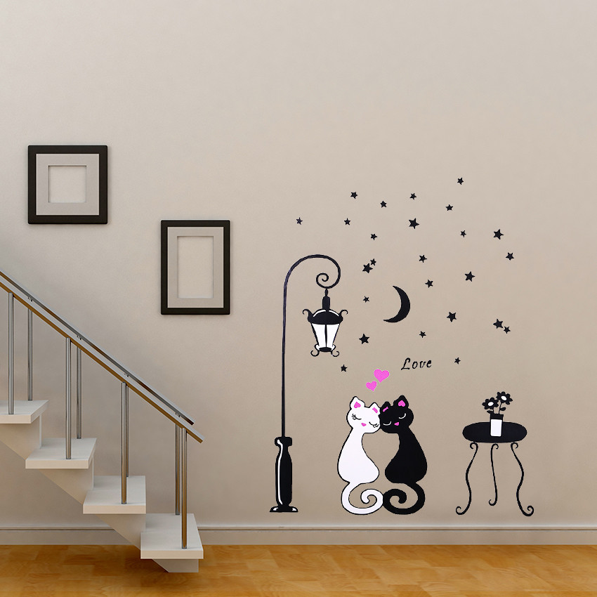 1 pcs Cute Cartoon Couple Cat Flower Vine 3D Wallpaper 1 pcs Cute Cartoon Couple Cat Flower Vine 3D Wallpaper HTB1OHgANpXXXXXXXFXXq6xXFXXXN