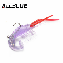 ALLBLUE Soft Shrimp Lures Soft Baits Silicone Shrimp Crayfish Hooks 4pcs/lot 4 Colors Lobster Fishing Lures(China)