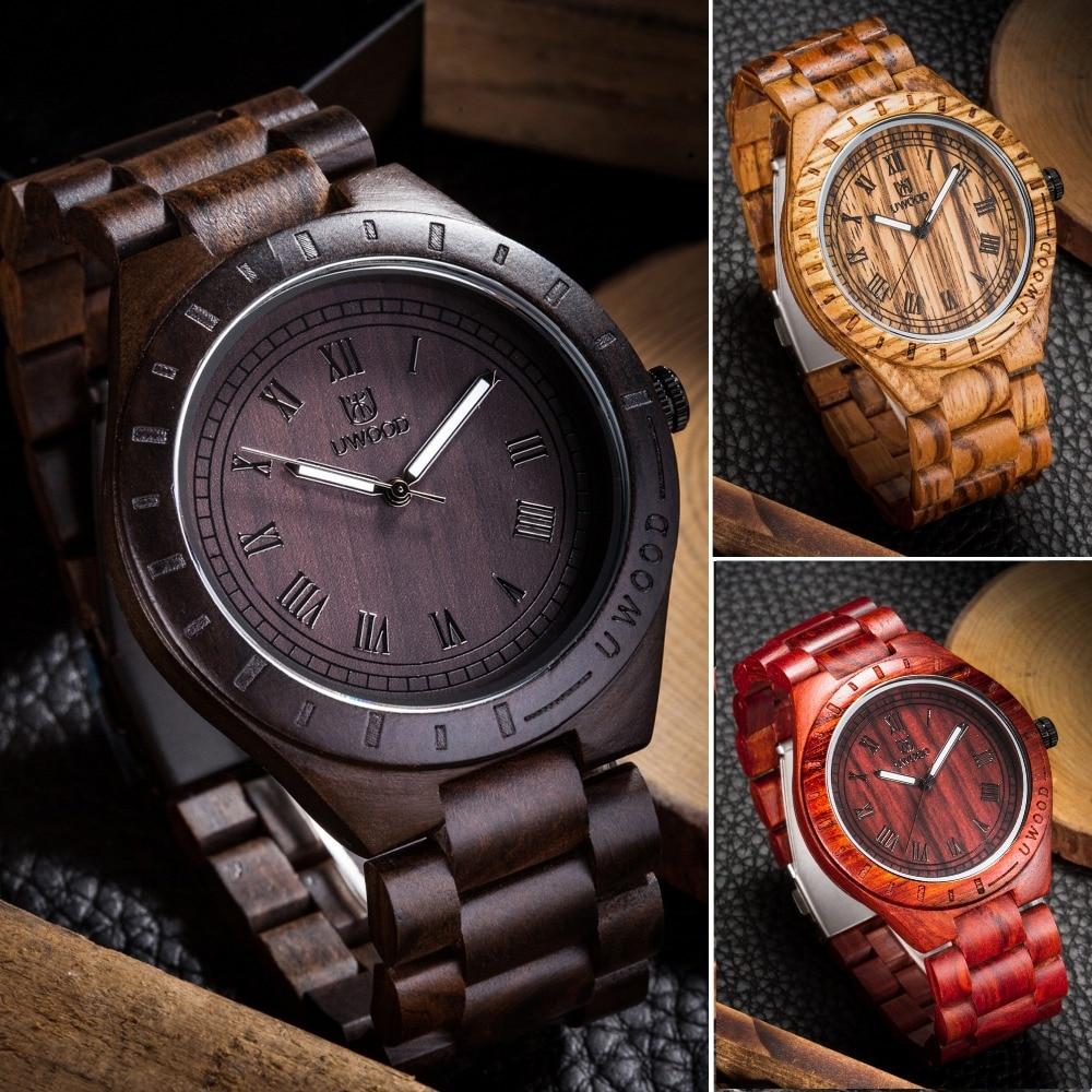 Newest Arrival Mens Wood Wristwatch Luxury Brand UWOOD 1001A Classic Folding Clasp Quartz Movement Wrist Watch with Wood Strap<br><br>Aliexpress