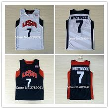 #7 Russell Westbrook 2012 London Team USA basketball jersey Embroidery Stitched Customize any size and name(China)