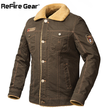 ReFire Gear US Army Air Force One Military Jacket Men Winter Super Warm Thicken Wool Liner Tactical Jacket Man Pilot Bomber Coat(China)