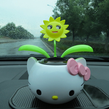 The automobile decoration decoration solar sun flower head gift puppy kitten(China)