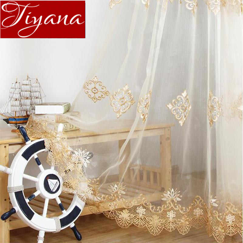 Beige Embroidered Voile Curtain Gauze Lace Blinds Children Wall Curtains for Living Room Sheer Tulle Cortinas Fabrics T&160#30