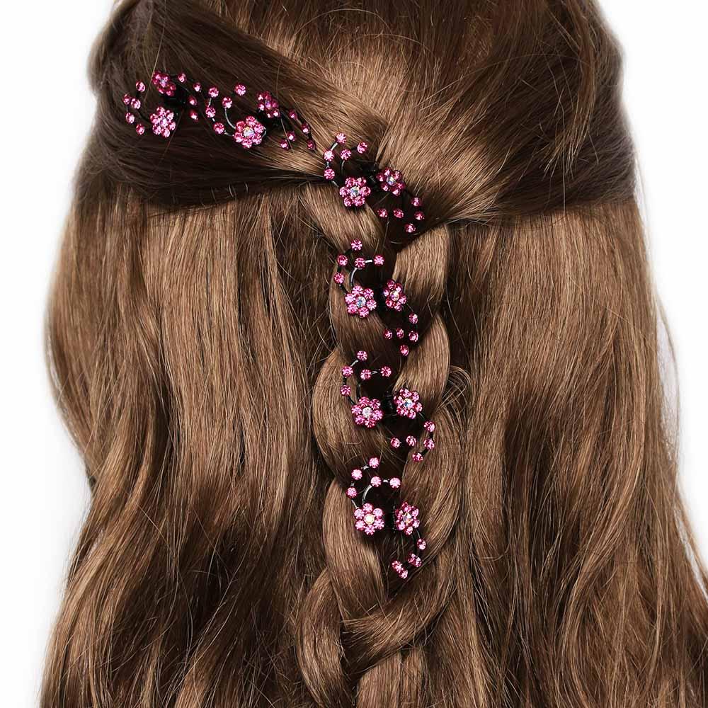 6pcs Small Rhinestone Two Flowers Hair Clip Ladies Hair Accessories