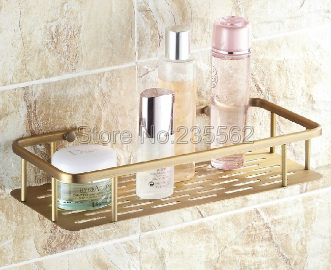 300mm Antique Brass Finish Bathroom Accessories / Soap / Sponge &amp; Body Wash Wall Mounted Shower Storage Basket Cba107<br>