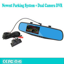 New 4.3 Full HD1080P Dual Camera Car DVR Camcorder Intelligent Visual Parking Alarm System Rearview Anti-glare Mirror Monitor(China)