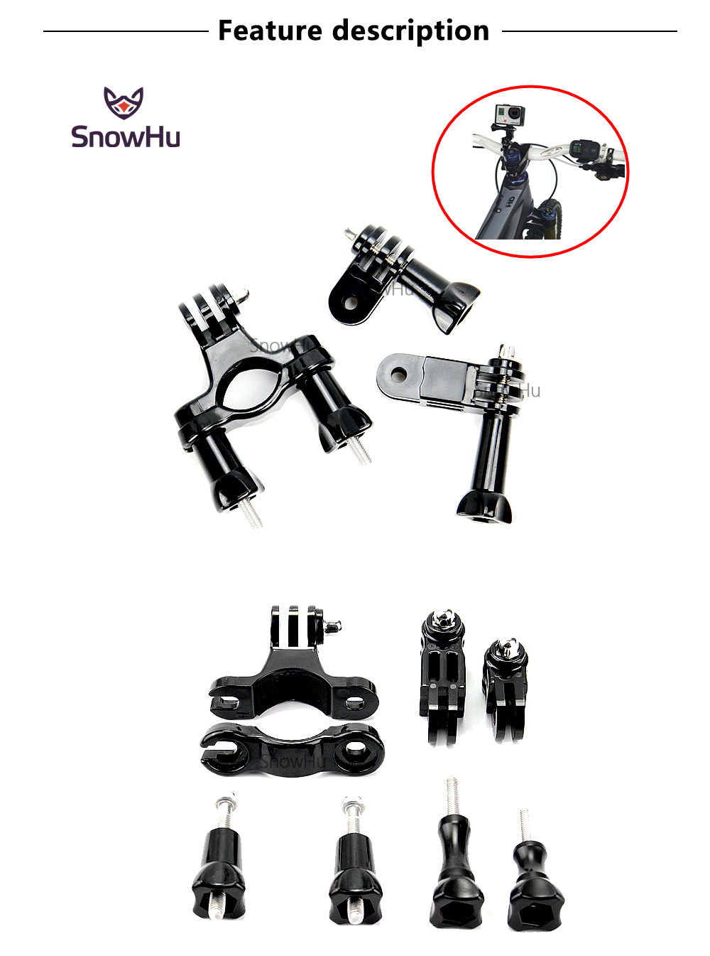 SnowHu for Gopro Accessories Bike Motorcycle Handlebar Pole Mount For Go pro Hero 5 4 3+ for Xiaomi yi 4k for sjcam sj4000 GP02