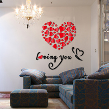 hot sale 2017 wall stickers acrylic mirror diy sticker home decoration love 3d sticker living room modern design