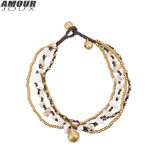 AMOURJOUX Handmade Multilayers Braid White Stones Beaded Leg Anklets For Women Ankle Bracelet Woman Anklet Female Foot Jewelry(China)