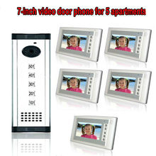Free shipping 7 inch TFT Display wired  video door phone 5 apartments intercom system for villa high definition camera monitor