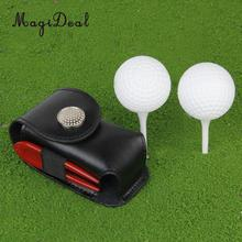 MagiDeal High Quality Mini Portable Leather Clip On Golf Ball Holder Pouch Bag Hold 2 Balls Golfer Aid Tool Gift Golf Accessory(China)