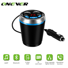 Onever Bluetooth FM Transmitter Car Music MP3 Player Hands Free Car Kit Cup Holder Cigarette Lighter USB Power Adapter Splitter(China)