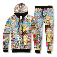 2 Piece Set Men Casual Tracksuits 3D Print Rick and Morty Fashion Hoodies Hooded+Pants Sweatshirt Track Suit S-XXL(China)