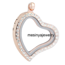 Lowest price free shipping 10pcs best quality PVD rose gold curved heart czech crystal crystal glass locket for floating charms